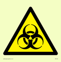 bio hazard symbol in warning triangle Text: None