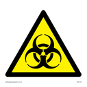bio hazard symbol in warning triangle Text: None