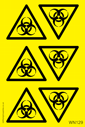 <p>sheet of bio hazard symbol triangle stickers</p> Text: Sheet of Bio Hazard symbol triangle stickers