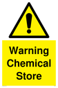 Exclamation symbol in warning triangle, black text on yellow background Text: Warning Chemical Store