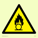 oxidising symbol in warning triangle Text: None