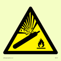 gas cylinder in warning triangle Text: None