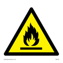 flames in warning triangle Text: None