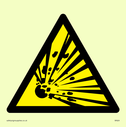 explosive material symbol in warning triangle Text: None