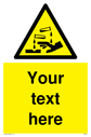 Custom Corrosive safety sign with chemical and hand symbol - black chemical and hand symbol in yellow triangle. Text: Your text here - just add to your order and fill in the 'special instructions' box at the basket to confirm your required text.
