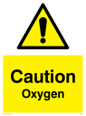general warning symbol in warning triangle Text: Caution Oxygen