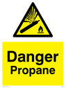 Gas cylinder warning symbol in warning triangle Text: Danger Propane