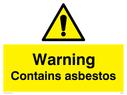 General warning symbol Text: Warning Contains asbestos