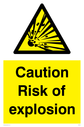 explosion symbol in warning triangle Text: Caution Risk of explosion