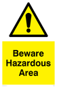 <p>Exclamation in warning triangle</p> Text: Beware Hazardous area