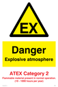 EX in warning triangle Text: Danger explosive atmosphere ATEX Category 2 Flammable material present in normal operation. (10 - 1000 hours per year)