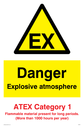 EX in warning triangle Text: Danger explosive atmosphere ATEX Category 1 Flammable material present for long periods. (More than 1000 hours per year)