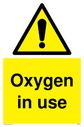 <p>general warning symbol in warning triangle</p> Text: Oxygen in use