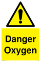 <p>general warning symbol in warning triangle</p> Text: Danger Oxygen