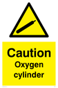 <p>Gas cylinder warning symbol in warning triangle</p> Text: Caution Oxygen cylinder