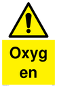 <p>general warning symbol in warning triangle</p> Text: Oxygen