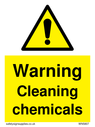 <p>Warning cleaning chemicals safety warning sign with exclamation in warning triangle</p> Text: Warning cleaning chemicals