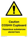 <p>Caution COSHH Cupboard Hazardous substances stored here safety warning sign with exclamation in warning triangle</p> Text: Caution COSHH Cupboard Hazardous substances stored here