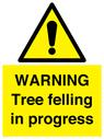 <p>WARNING Tree felling in progress</p> Text: