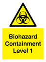 <p>Biohazard <br/> Containment Level 1</p> Text: