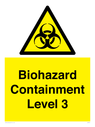 <p>Biohazard <br/> Containment Level 3</p> Text: