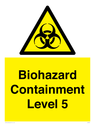 <p>Biohazard <br/> Containment Level 5</p> Text: