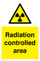 radiation symbol in warning triangle Text: Radiation controlled area