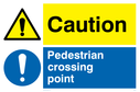 warning triangle & exclamation in blue circle - sign Text: Caution Pedestrian crossing point