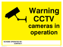 <p>CCTV safety warning signs with camera symbol</p> Text: warning cctv cameras in operation. Scheme operated by: / Contact: