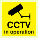 cctv camera symbol - sign Text: c.c.t.v. in operation