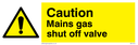 general warning triangle - gas shut off valve Text: Mains gas shut off valve