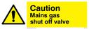 <p>general warning triangle - gas shut off valve</p> Text: Mains gas shut off valve