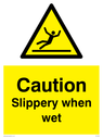 figure slipping in warning triangle Text: slippery when wet