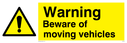 exclamation in warning triangle Text: caution beware of moving vehicles