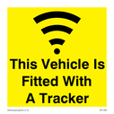 this vehicle is fitted with a tracker with tracker symbol Text: this vehicle is fitted with a tracker