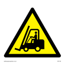 fork lift truck in warning triangle Text: None