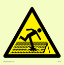 figure on roof in warning triangle Text: None