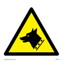 dog head in warning triangle Text: none