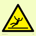 figure slipping in warning triangle Text: None