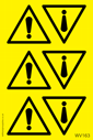 <p>sheet of General Warning exclamation mark triangle stickers</p> Text: Sheet of General Warning exclamation symbol triangle stickers