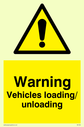 exclamation in warning triangle Text: warning vehicles loading unloading