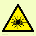 <p>laser hazard symbol in warning triangle</p> Text: None