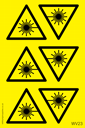 <p>Sheet of Laser hazard symbol triangle stickers</p> Text: Sheet of Laser Hazard symbol triangle stickers
