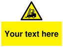 <p>fork lift in warning triangle</p> Text: Your Text Here