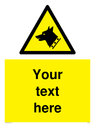 custom-text-with-dog-head-in-warning-triangle-symbol~
