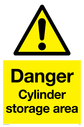 gas cylinder in warning triangle Text: Danger Cylinder storage area