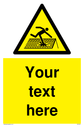 Custom Figure of Roof Sign. Add your own custom text. Normal delivery times apply. Yellow Figure of Roof Symbol. This symbol and sign layout complies with new EN7010 legislation that governs safety signs. Text: Your text here - just add to your order and fill in the 'special instructions' box at the basket to confirm your required text.