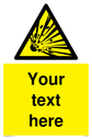 Custom Explosive Material Sign. Add your own custom text. Normal delivery times apply. Yellow Explosive Material Symbol. This symbol and sign layout complies with new EN7010 legislation that governs safety signs. Text: Your text here - just add to your order and fill in the 'special instructions' box at the basket to confirm your required text.