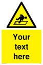 Custom Warning Hatch Sign. Add your own custom text. Normal delivery times apply. Yellow Warning Hatch Symbol. This symbol and sign layout complies with new EN7010 legislation that governs safety signs. Text: Your text here - just add to your order and fill in the 'special instructions' box at the basket to confirm your required text.