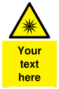 Custom Optical Radiation Sign. Add your own custom text. Normal delivery times apply. Yellow Optical Radiation Symbol. This symbol and sign layout complies with new EN7010 legislation that governs safety signs. Text: Your text here - just add to your order and fill in the 'special instructions' box at the basket to confirm your required text.